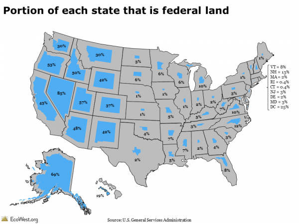 Who owns the west? map of Federal owned land in the united states ...